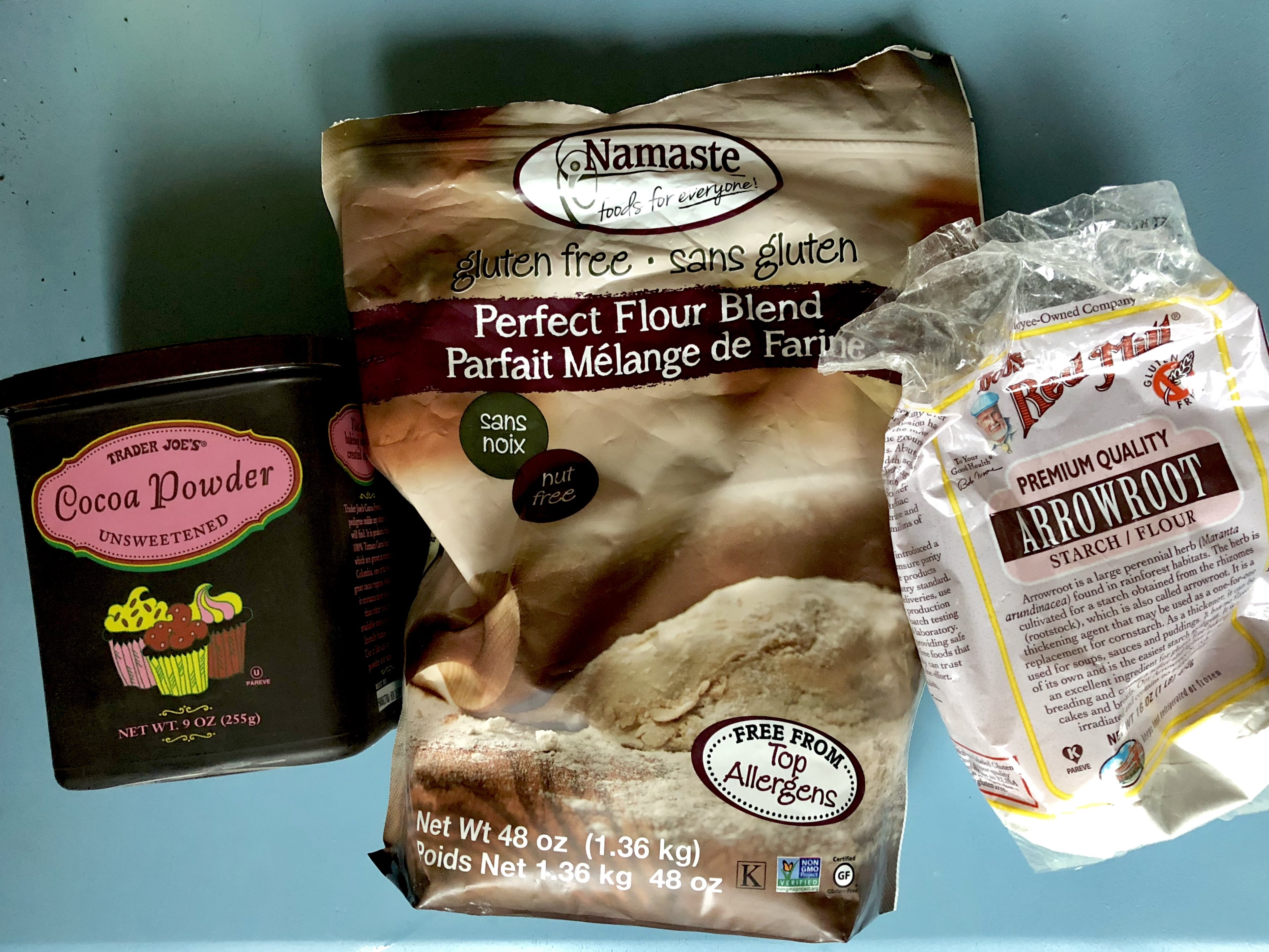 The Three Flours that I use in my Best Ever Gluten Free Chocolate Banana Bread